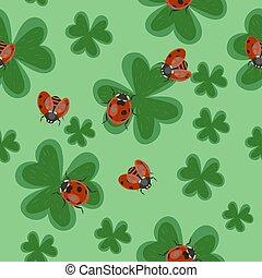 trevo, ladybugs., pattern., seamless, textura, vetorial