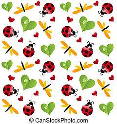 trevo, padrão folha, seamless, vetorial, ladybird