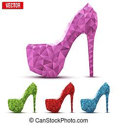 triangulation, jogo, sapatos, coloridos, abstratos, alto, mulher, calcanhares, style.