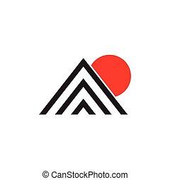 triangulo, listras, montanha, sol, vetorial, simples, logotipo
