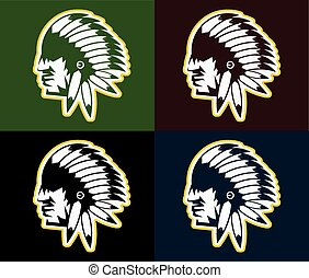 tribal, chefe, americano, nativo, headdress, homem