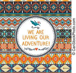 tribal, citação, hipster, padrão, elementos, tipográfico, geomã©´ricas, coloridos, seamless, texto