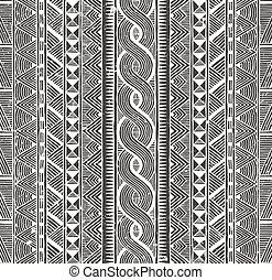 tribal, pattern., seamless, experiência., vetorial, monocromático