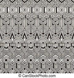 tribal, pattern., seamless, mão, experiência., vetorial, desenhado