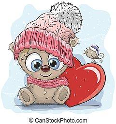 tricotado, cute, boné, caricatura, pelúcia