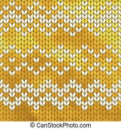 tricotado, padrão, seamless, dourado