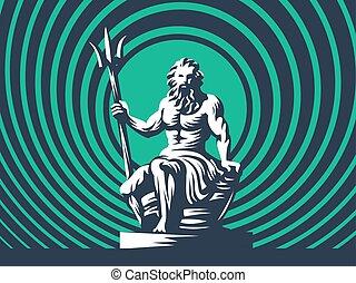 trident., poseidon, netuno, ou, estátua