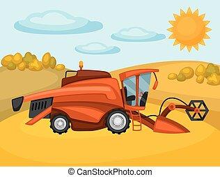 trigo, harvester, fazenda, ilustração, combinar, agrícola, paisagem rural, field.