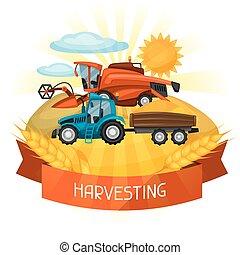 trigo, harvester, fazenda, ilustração, combinar, trator, agrícola, paisagem rural, field.