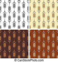 trigo, seamless, cobrança, padrões, vetorial, repetindo