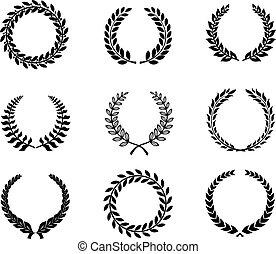 trigo, silueta, grinaldas, laurel, jogo, foliate, circular