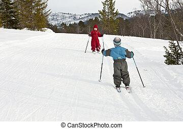 trilhas esqui, pequeno, reunião, crianças, feliz