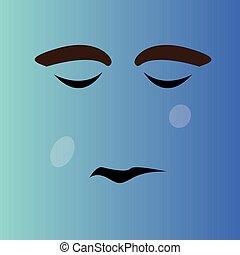 triste, caricatura, rosto