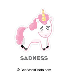 triste, isolado, unicorn.