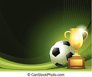 troféu, bola, abstratos, experiência verde, futebol