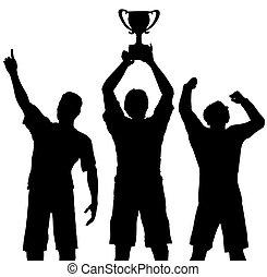 troféu, vencedores, vitória, comemorar, esportes