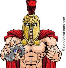 trojan, controlador, gamer, guerreira, spartan, mascote