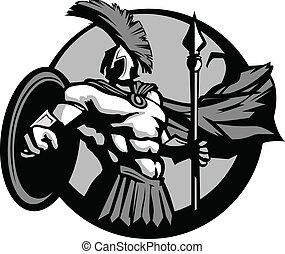 trojan, escudo, lança, spartan, forte, ou, mascote