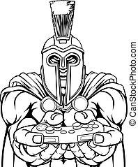 trojan, mascote, guerreira, controlador, spartan, gamer