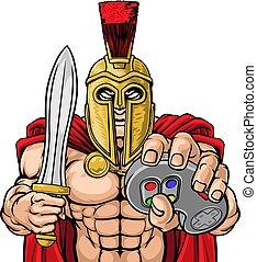 trojan, spartan, controlador, gamer, gladiador, mascote