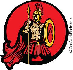 trojan, spartan, grego, vetorial, mascote