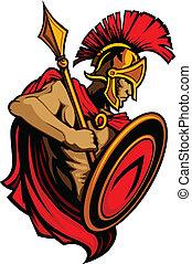 trojan, spartan, lança, mascote