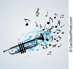 trompete, abstratos, música, fundo