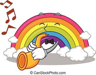 trompete, arco íris, tocando, desenho, músico, caricatura, talentoso