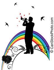 trompetista, borboleta, andorinha