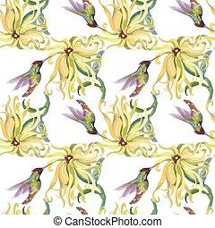 tropicais, colibris, padrão, seamless, aquarela, flowers., floral, painting.