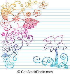 tropicais, hibisco, hand-drawn, flor