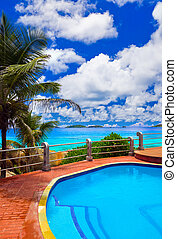 tropicais, hotel, praia, piscina