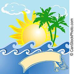 tropicais, logotipo, férias, mar