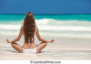 tropicais, meditação, mulher, praia