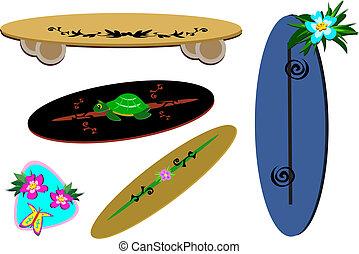 tropicais, mistura, desporto, placas