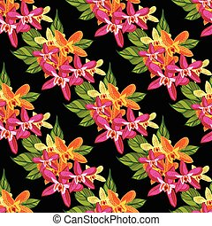 tropicais, padrão, flowers., floral, seamless