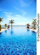 tropicais, piscina, natação