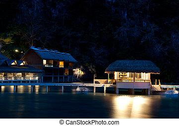 tropicais, recurso, litoral, noturna, vista