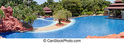 tropicais, recurso, piscina, natação