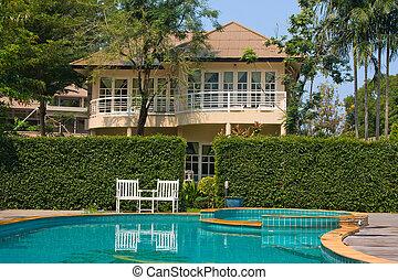 tropicais, tailandia, piscina, natação