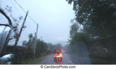 tropicais, transporte, rain., road.