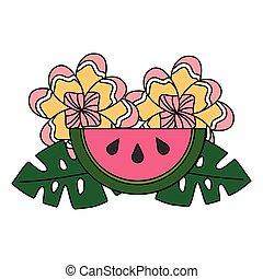 tropicais, verão, folhas, flor, melancia