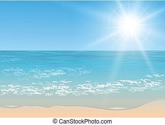 tropicais, vetorial, sea.