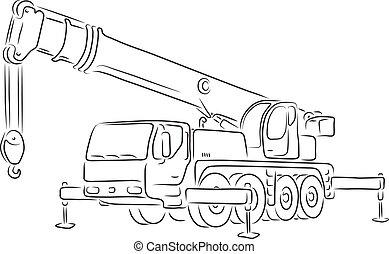 truck-mounted, guindaste, vetorial, esboço