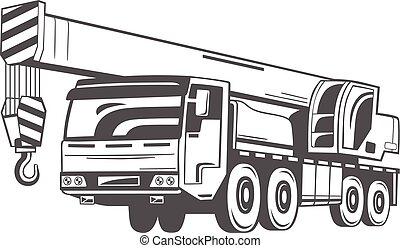 truck-mounted, vetorial, crane., illustration.
