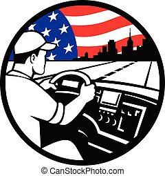 trucker-inside-truck-driving-hiway-usa-flag-circ-retro