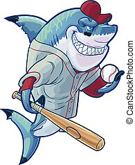 tubarão, basebol, caricatura, má