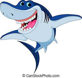 tubarão, engraçado, caricatura