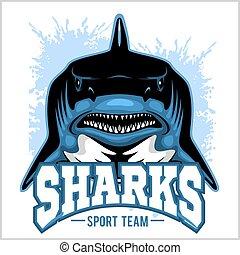 tubarão, illustration., mascot., esportes, vetorial, forte