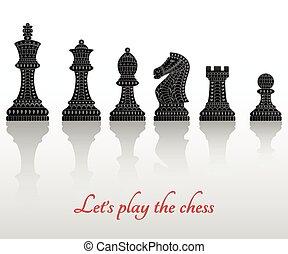 tudo, jogo, pedaços xadrez